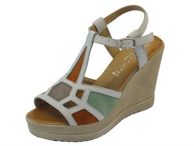 Sandali per donna Mercante di Fiori in pelle bianca e camoscio multicolore zeppa alta