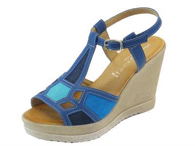 Articolo Sandali per donna Mercante di Fiori in pelle blu e camoscio multicolore zeppa alta
