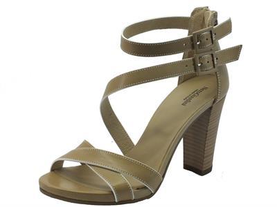 Sandali per donna NeroGiardini in pelle sabbia tacco alto
