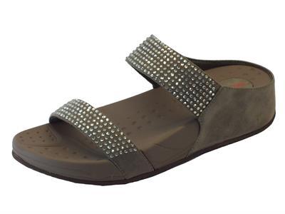 Sandali Pregunta per donna in ecopelle grigia e strass argento sottopiede Imprint