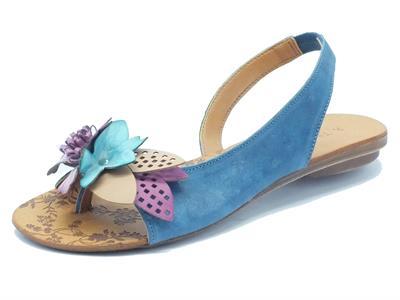 Articolo Sandali Tiurai modello infradito per donna in pelle blu con fiore