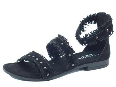 Sandalo basso CafèNoir con lampo posteriore in camoscio nero