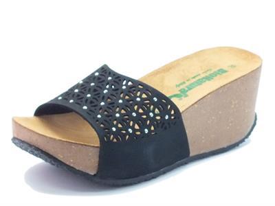 Sandalo Bionatura in nabuk laserato nero