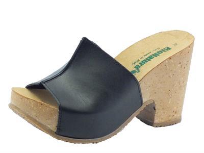 Sandalo Bionatura modello scalsato per donna in pelle nera