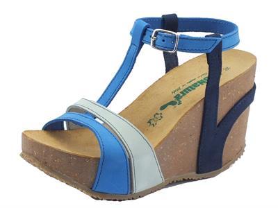 Sandalo Bionatura per donna in nabuk multicolore blu zeppa alta