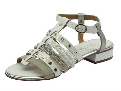 Sandalo CafèNoir in multi-laterali bianco sottopiede in pelle