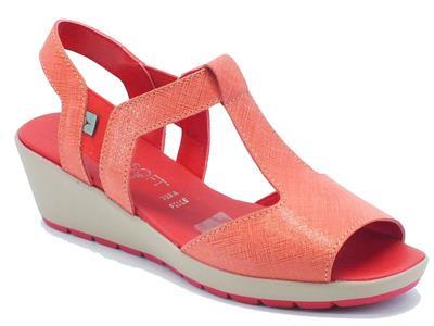 Sandalo Cinzia Soft in pelle rossa lavorazione saffiano