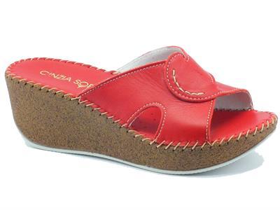 Sandalo Cinzia Soft per donna in pelle rossa con zeppa