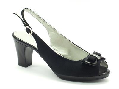 Sandalo elegante Cinzia Soft in tessuto nero con tacco
