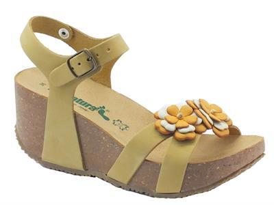 Sandalo Fregene Fiore Bionatura per donna in nabuk dune
