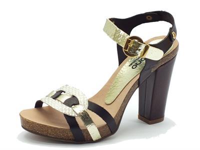 Sandalo Yokono in pelle marrone e oro