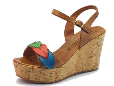 Sandalo Mercante di Fiori in pelle marrone con zeppa alta