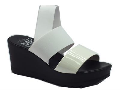 Sandalo Mercante di Fiori in tessuto elasticizzato e vernice bianca