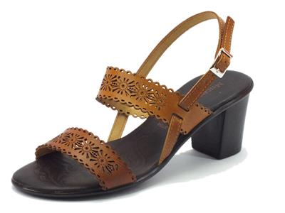 Sandalo Mercante di Fiori per donna in pelle cuoio tacco medio