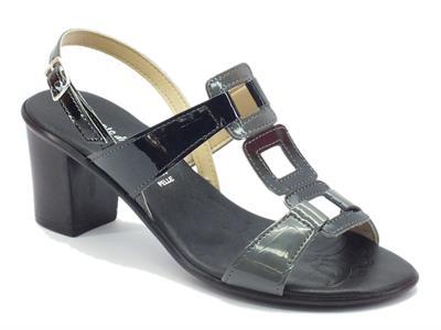 Sandalo Mercante di Fiori per donna in vernice nero grigio tacco medio