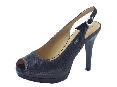 Articolo Sandalo NeroGiardini per donna in tessuto glitterato nero tacco 10cm