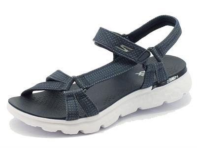 Sandalo per donna Skechers modello tecnico blu a poisse bianchi