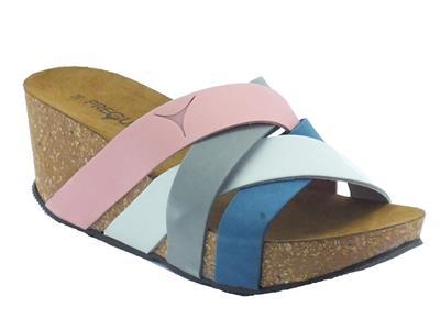 Sandalo Pregunta in nabuk colore rosa grigio bianco e blu zeppa media