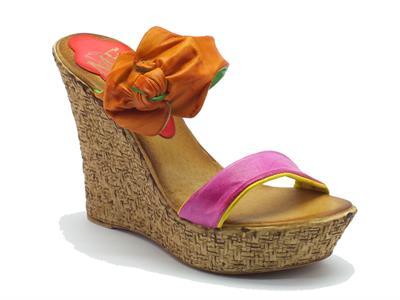 Sandalo scalsato Mercante di Fiori in pelle multicolore zeppa altissima effetto vimini