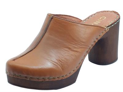 Cinzia Soft PQ9183624 Honey Sabot per Donna in pelle marrone tacco alto con plateau