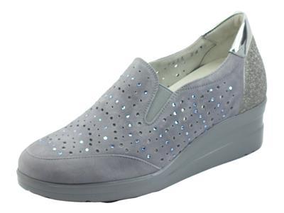 Melluso Walk R20156A Jeans Prc Mocassini per Donna in nabuk traforato zeppa alta