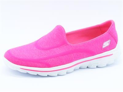 Mocassini Skechers Go Walk per donna in tessuto rosa acceso