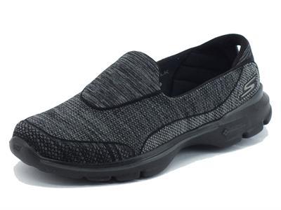 Mocassini Skechers GoWalk 3 per donna in tessuto nero