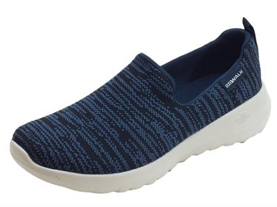 Mocassini Skechers Nirvana per donna in tessuto blu e nero