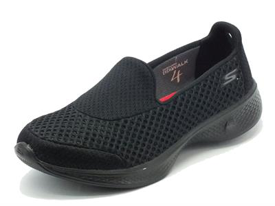 Mocassini sportivi Skechers Go Walk 4 per donna in tessuto nero