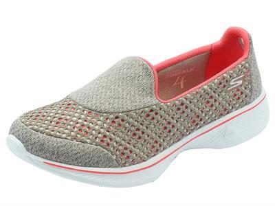 Articolo Mocassini sportivi Skechers Go Walk 4 per donna in tessuto taupe e corallo