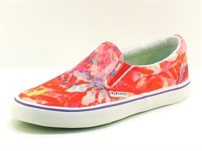 Mocassini Superga modello Slip-on in tessuto floreale multicolore rosso