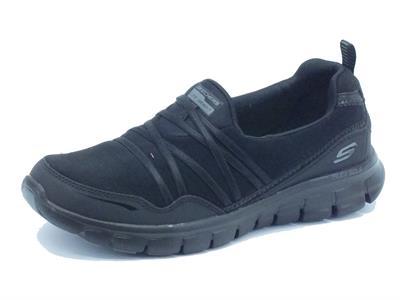 Articolo Mocassino per donna Skechers Sport in tessuto nero