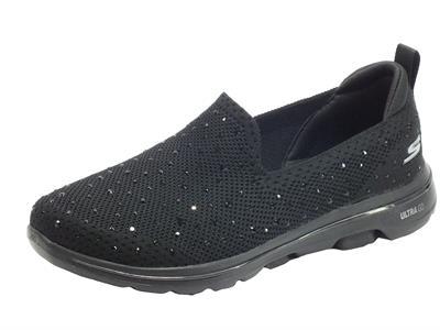 Articolo Skechers 15921/BBK Go Walk 5 Limelight Black Mocassini sportivi Donna in tessuto e brillantini neri