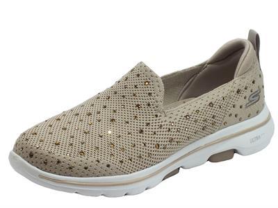Articolo Skechers 15921/TPE Go Walk 5 Limelight Taupe Mocassini sportivi Donna tessuto brillantini taupe