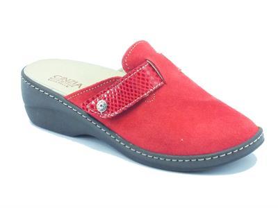 Ciabatte Cinzia Soft in camoscio rosso con sottopiede estraibile