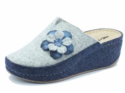 Articolo Ciabatte Melluso Walk per donna in lana cotta grigia e blu zeppa alta