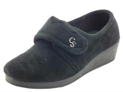Cinzia Soft IEA3801 Negro Pantofole chiuse per Donna in tessuto con chiusra a strappo