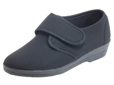 Cinzia Soft IEB48533LX Negro Pantofole per Donna in tessuto elasticizzato chiusura a strappo