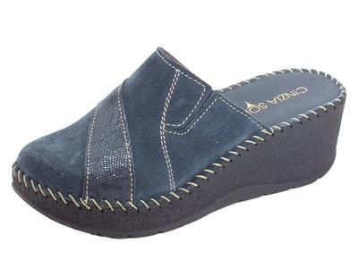 Articolo Cinzia Soft IU441831-C Pantofole Donna con zeppa alta in camoscio blu