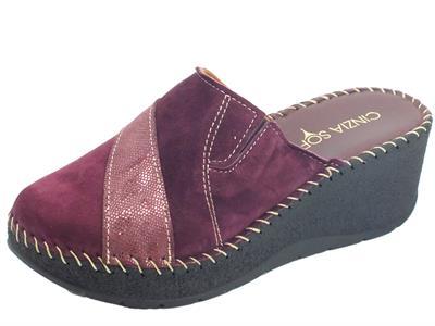 Articolo Cinzia Soft IU441831-C Pantofole Donna con zeppa alta in camoscio porpora