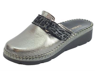 Articolo Cinzia Soft IU50814-NC Pantofole Donna con zeppa in nappa piombo lucente
