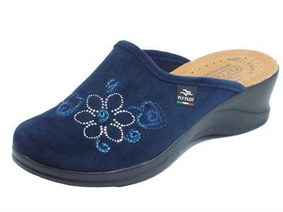 Articolo Fly Flot 96 S03 PE Blu Pantofole per Donna in tessuto blu sottopiede in pelle anti-shock