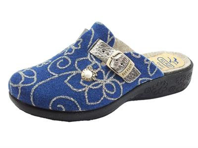 Articolo Fly Flot L3Q97 GF Blu Pantofole per Donna in lana cotta blu e argento