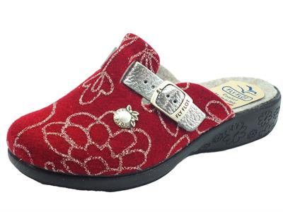 Fly Flot L3Q97 GF Bordo Pantofole per Donna in lana cotta bordeaux e argento