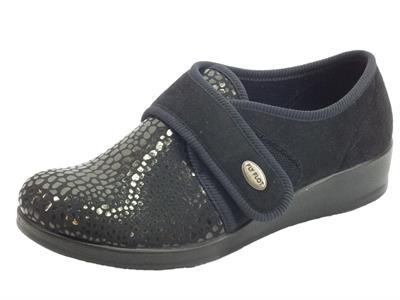 Articolo Fly Flot N3886 CD Nero Pantofole Donna tessuto nero con regolazione a strappo