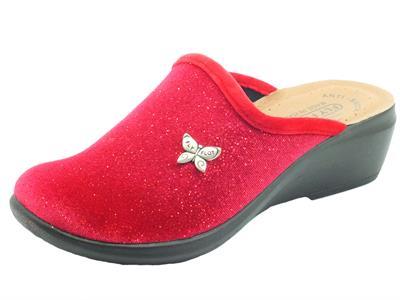 Articolo FlyFlot Q7 P92 3E Rosso Pantofole per Donna in tessuto con sottopiede in pelle