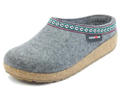 Articolo Haflinger Grizzly Franzl 711001 anthrazit Pantofole Sabot per Donna in lana grigia