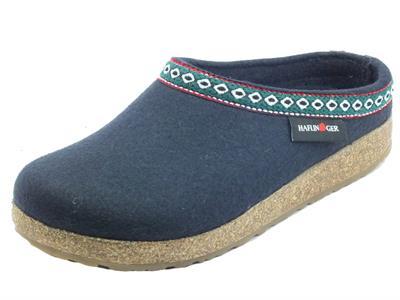 Articolo Haflinger Grizzly Franzl 711001 mittelblau Pantofole Sabot per Donna in lana blu