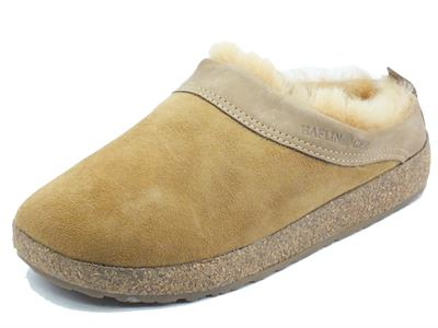 Articolo Haflinger Lammfellclog 713015 beigemeliert Pantofole per Donna in nabuk beige con ecopellicciotto