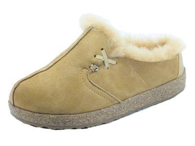 Articolo Haflinger Saskatchewan 711021 Oko Pantofole per Donna in nabuk marroncino con ecopellicciotto